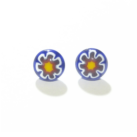 Colorful Millefiori Red Blue Yellow Flower Sterling Post Stud Earrings - JKC Murano