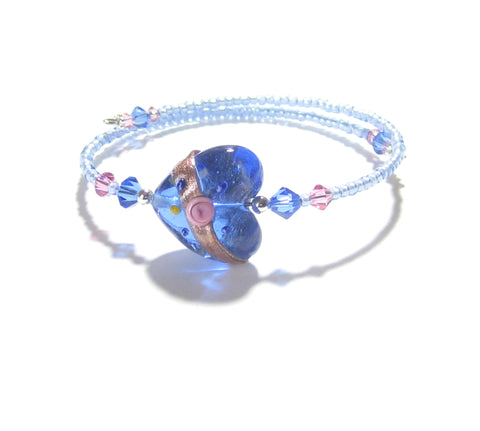 Murano Glass Pink Rose Blue Heart Bangle Bracelet - JKC Murano