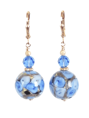 Murano Glass Blue Rose Ball Gold Earrings, Leverback Earrings JKC Murano