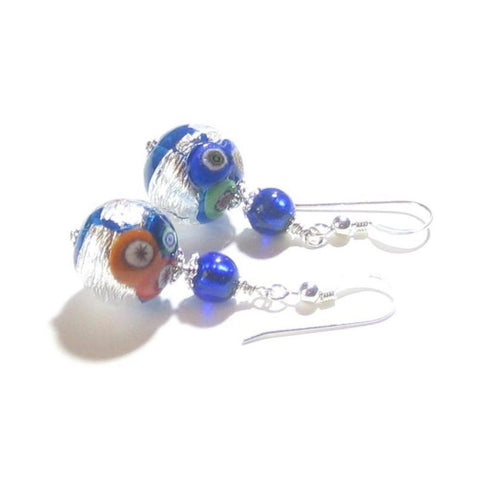 Murano Glass Blue Millefiori Ball Sterling Silver Earrings