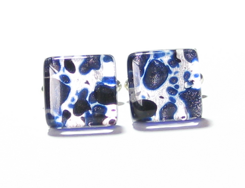 Murano Glass Cobalt Blue Silver Square Cuff Links - JKC Murano - 1