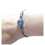 Murano Glass Dark Blue Bangle Bracelet, Venetian Glass Jewelry JKC Murano