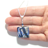 Murano Glass Blue Silver Square Pendant Necklace - JKC Murano