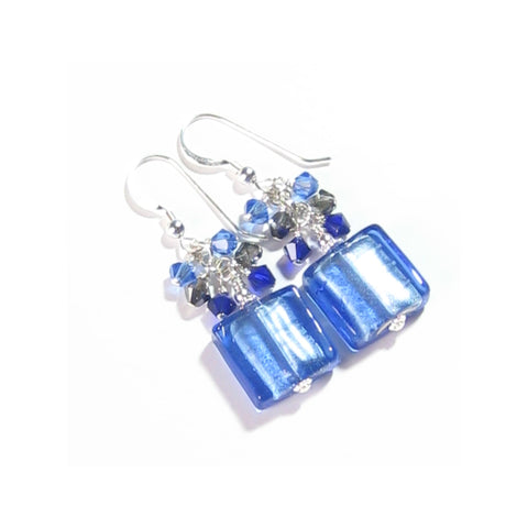 Murano Glass Blue Square Dangle Sterling Silver Earrings JKC Murano