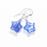 Murano Glass Blue Star Sterling Silver Earrings - JKC Murano