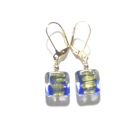 Murano Glass Blue Gold Striped Square Gold Earrings by JKC Murano