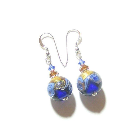 Murano Glass Cobalt Blue Topaz Copper Ball Silver Earrings