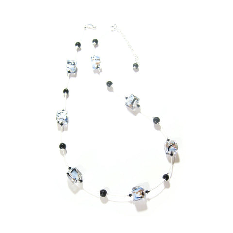 Murano Glass Blue Black White Swirl Cube Silver Necklace - JKC Murano