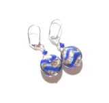Murano Glass Cobalt Blue White Disc Sterling Silver Earrings JKC Murano