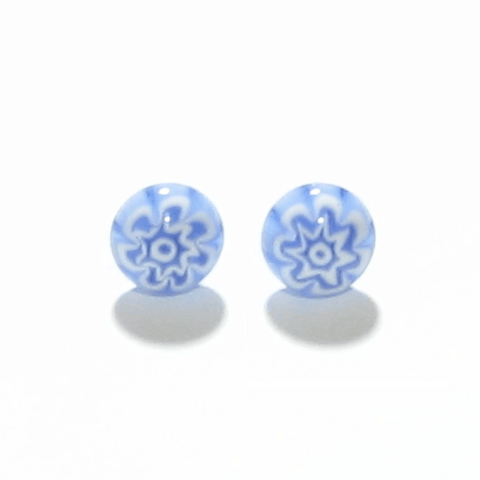 Murano Light Blue Millefiori Sterling Silver Post Stud Earrings - JKC Murano