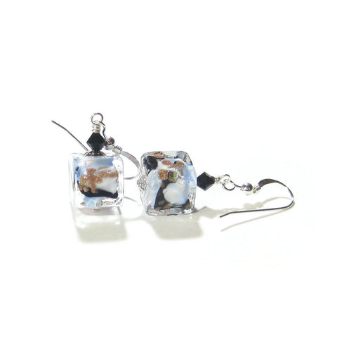 Murano Glass Blue White Black Leopard Cube Sterling Silver Earrings - JKC Murano