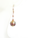 Murano Glass Blue Brown Gold Earrings - JKC Murano