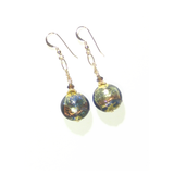 Murano Glass Brown Green Disc Gold Earrings by JKC Murano - JKC Murano