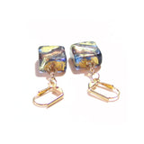 Murano Glass Brown Blue Green Square Gold Earrings JKC Murano