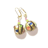 Murano Glass Colorful Dot Gold Earrings