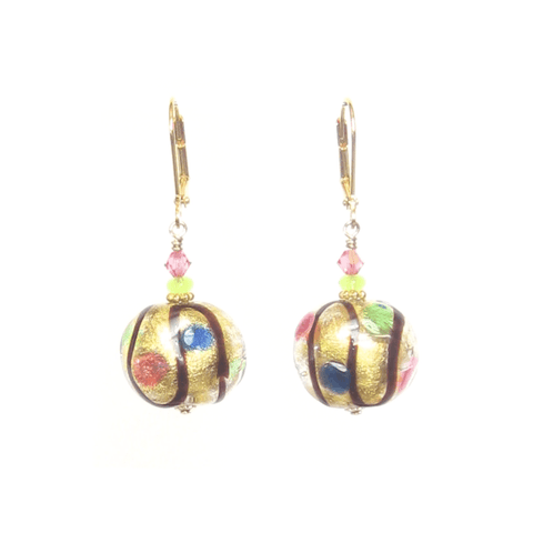 Murano Glass Colorful Dot Gold Earrings - JKC Murano