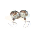 Murano Glass Zebra Black Brown Disc Silver Earrings, Venetian Italian Jewelry JKC Murano