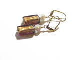 Murano Glass Brown Rectangle Gold Earrings, Venetian Jewelry JKC Murano