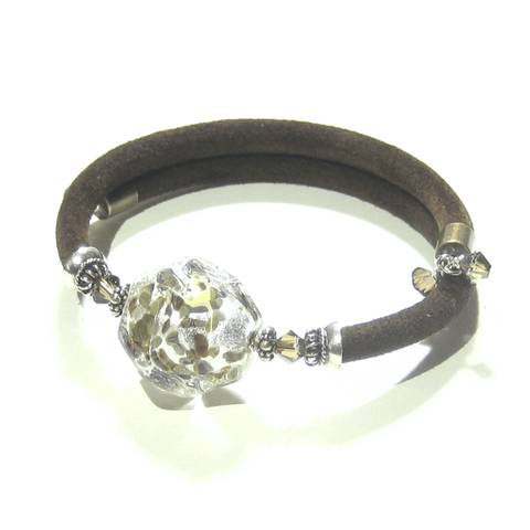 Murano Glass Brown Suede Wrap Bangle Bracelet