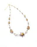 Murano Glass Brown Star Gold Filled Necklace JKC Murano