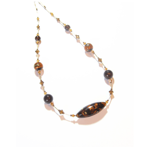 Murano Glass Dark Brown Topaz Oval Gold Necklace - JKC Murano