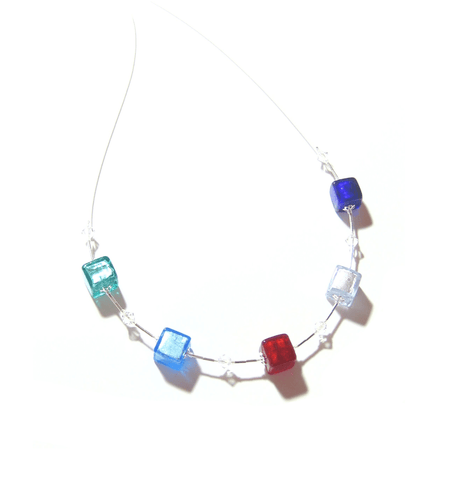 Murano Glass Multi Colored Cube Silver Necklace, Illusion Necklace JKC Murano