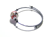 Murano Glass Red Leopard Sterling Silver Bangle Bracelet - JKC Murano