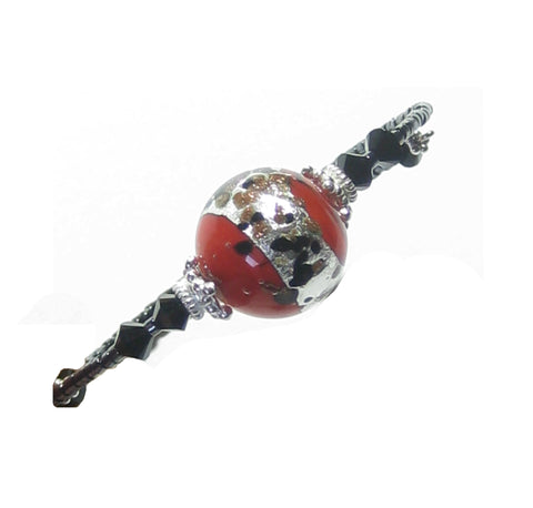 Murano Glass Red Leopard Sterling Silver Bangle Bracelet JKC Murano