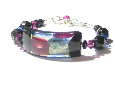Murano Glass Black Blue Pink Curved Tube Chunky Silver Bracelet JKC Murano
