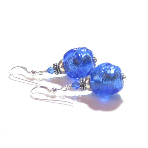 Murano Glass Blue Twist Ball Silver Earrings, Venetian Glass Jewelry - JKC Murano