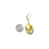Large Italian Glass Disc Clear Gold Earrings - JKC Murano
