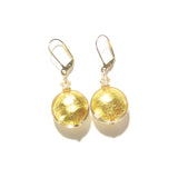 Large Italian Glass Disc Clear Gold Earrings JKC Murano