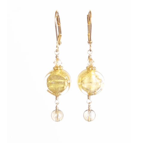 Murano Glass Clear Coin Gold Earrings by JKC Murano