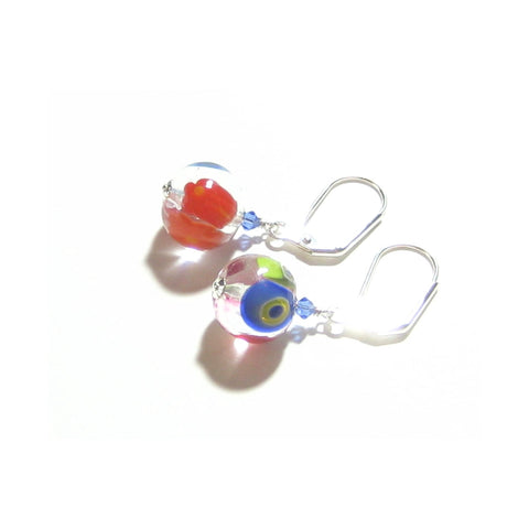 Italian Murano Glass Colorful Millefiori Round Silver Earrings JKC Murano