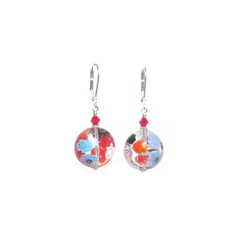 Murano Glass Clear Millefiori Disc Chunky Silver Earrings JKC Murano