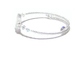 Murano Glass Clear Silver Star Bangle Bracelet - JKC Murano
