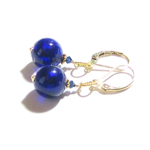 Murano Glass Cobalt blue Gold Earrings, Gold Filled Leverbacks JKC Murano