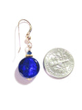 Murano Glass Cobalt Blue Small Coin Dangle Gold Earrings, Gold Filled Leverbacks JKC Murano