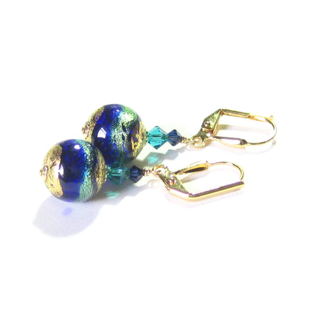 Murano Glass Aqua Cobalt Ball Gold Earrings, Leverback Earrings JKC Murano