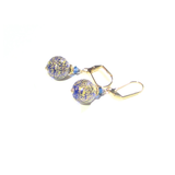Murano Glass Cobalt Blue Ball Gold Earrings by JKC Murano - JKC Murano
