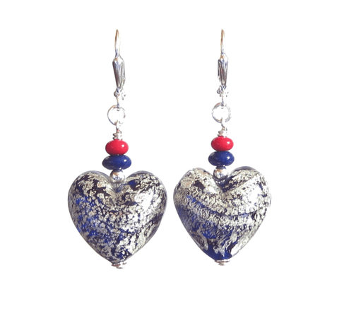 Murano Glass Cobalt Blue Heart Chunky Silver Earrings, Leverback Earrings, Venetian Jewelry JKC Murano
