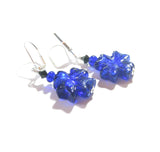 Murano Glass Cobalt Blue Celtic Cross Sterling Silver Earrings JKC Murano