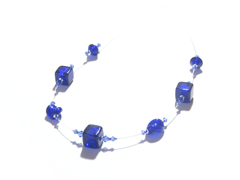 Murano Glass Cobalt Blue Sterling Silver Illusion Necklace JKC Murano
