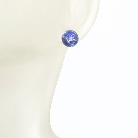Murano Glass Cobalt Blue Silver Dichroic Button Earrings, 10mm, Stud Earrings