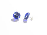 Murano Glass Cobalt Blue Silver Dichroic Button Earrings, Venetian Jewelry, Stud Earrings JKC Murano