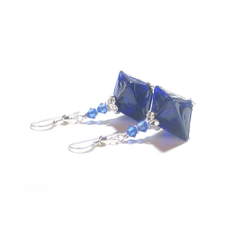 Murano Glass Dark Blue Diamond Sterling Silver Earrings
