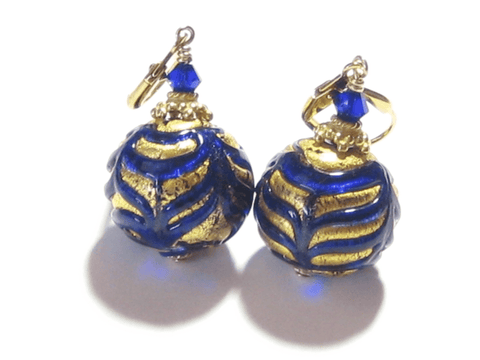 Murano Glass Cobalt Blue Feather Ball Gold Earrings JKC Murano