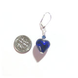 Cobalt Blue Murano Glass Heart Sterling Silver Earrings, Venetian Jewelry JKC Murano