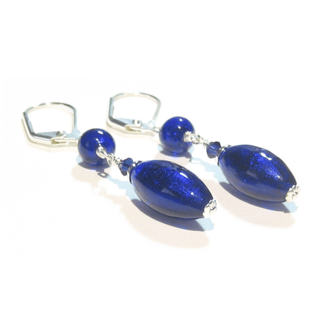 Murano Glass Cobalt Blue Long Sterling Silver Earrings JKC Murano