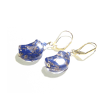 Venetian Glass Blue Copper Moon Gold Earrings By JKC Murano - JKC Murano